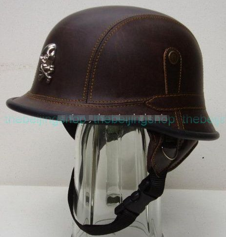 Ww2 German Style Pu Leather Motorcycle Helmet Brown Half Face