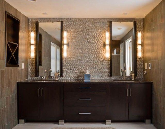 Creative Gorgeous Bathroom Vanity Enhanced With Smart Use Of Serene Lighting