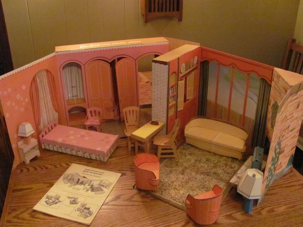 Vintage Barbie Doll New Dream House 1964 Cardboard Furniture Accessories Portable Doll House Vintage Barbie Dolls Vintage Barbie