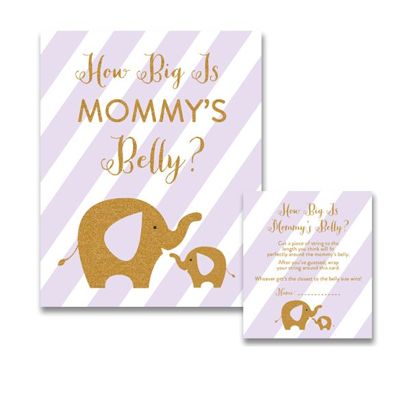 Baby Shower Purple Gold Glitter Elephant - Game How Big is Mommy's Belly - Instant Download Printable