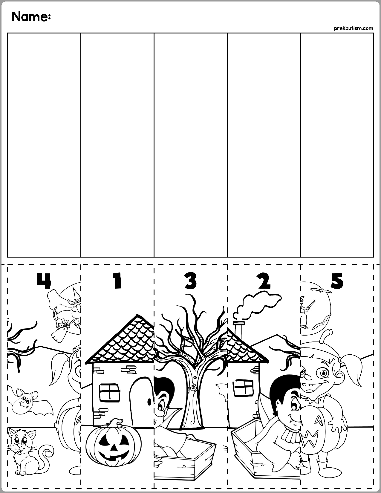 Halloween Scene Number Sequence Puzzles With Images