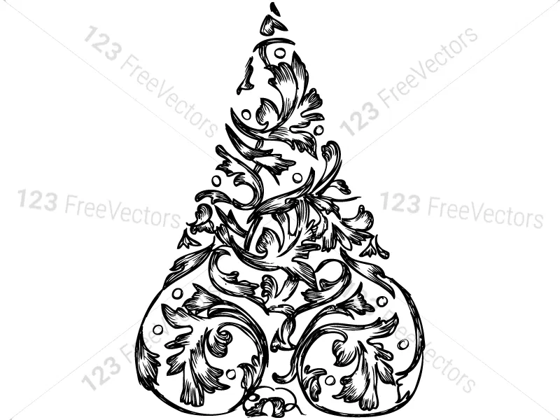 Hand Drawn Christmas Tree Vector And Photoshop Brush Pack 01 How To Draw Hands Photoshop Brushes Photoshop