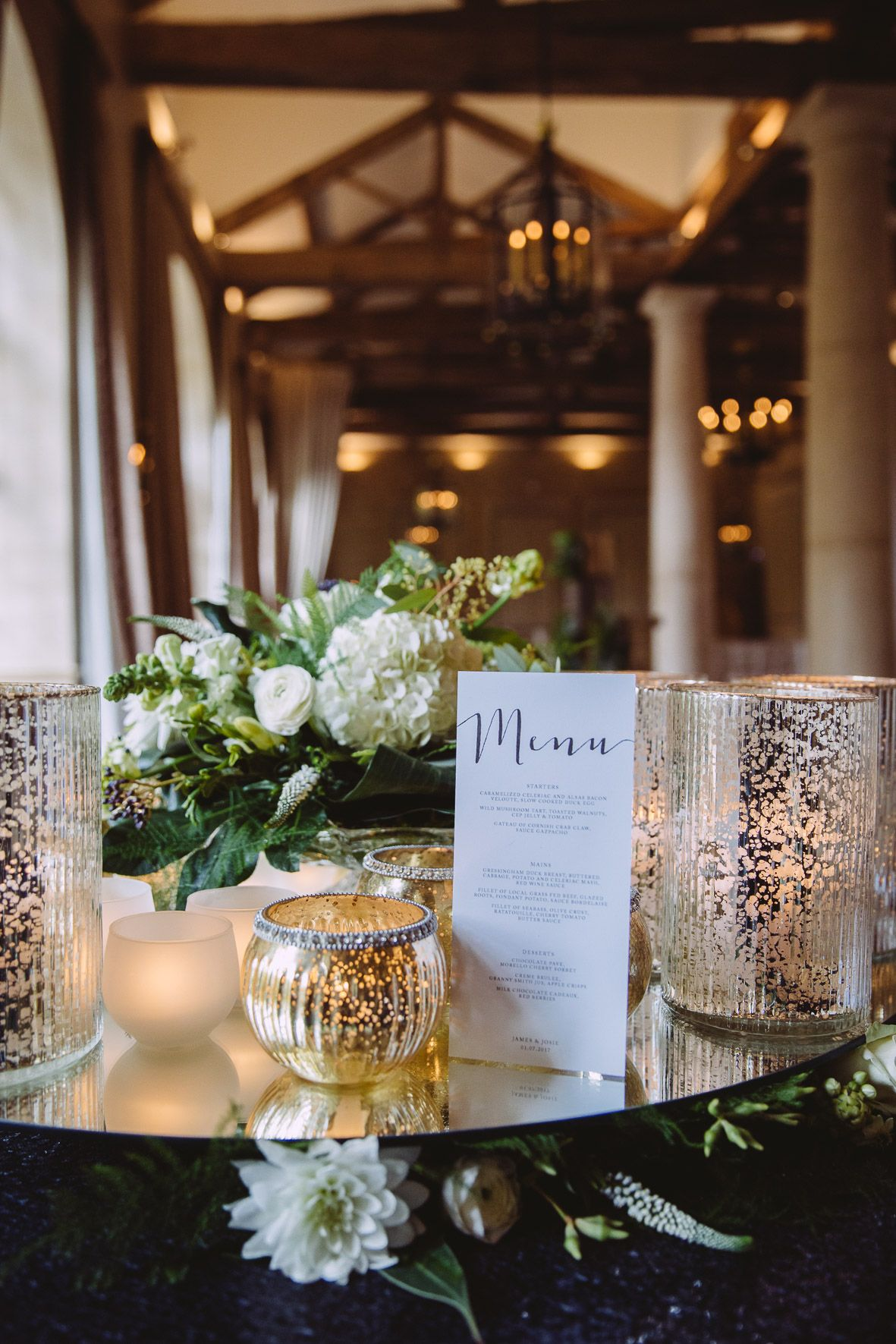 Mirrored Table Top And Luxury Candle Lit Gold Wedding Day Details For The  Guest Tables At