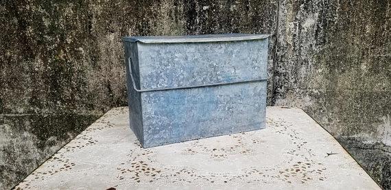 Vintage Galvanized Steel Milk Box Insulated Metal Porch Milk Cooler Milk Coolers Milk Box Galvanized Steel