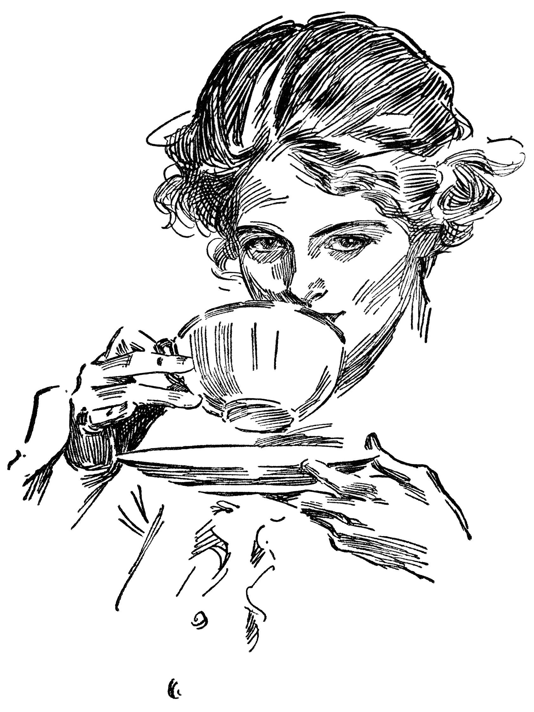 lady drinking tea, tea time graphics, vintage lady clip art, black ...