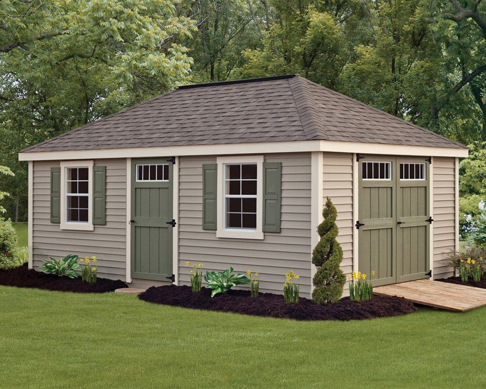 Deluxe Vinyl Provincial Storage Sheds Green Acres Outdoor Living Green Shutters Villa Style Backyard Buildings