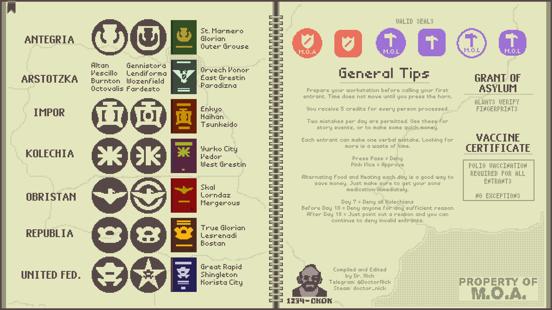 Made A Cheat Sheet For Papers Please Album On Imgur Games Gamer Life Videogames