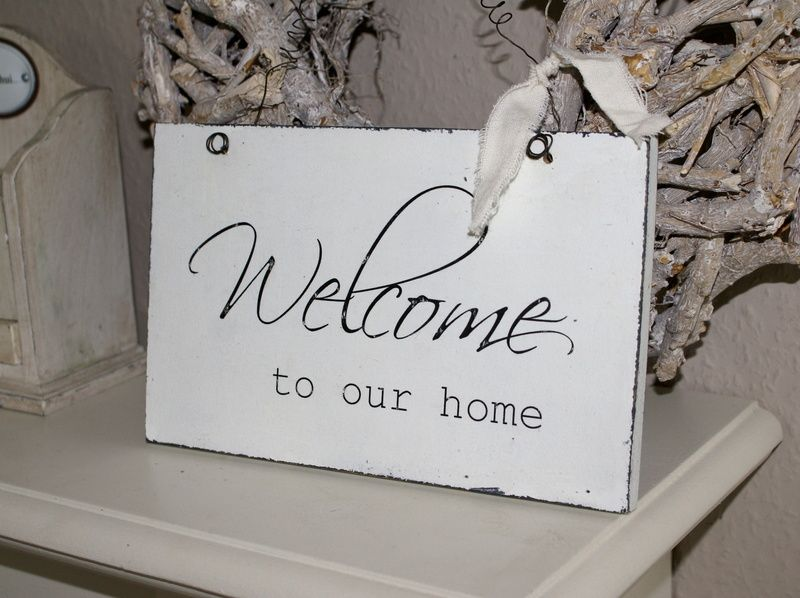 Schild welcome to our home shabby chic von white living - Wanddekoration shabby chic ...