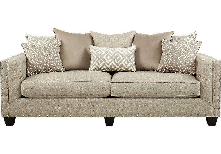 Best Cindy Crawford Home Chelsea Hills Beige Sofa Beige Sofa 400 x 300