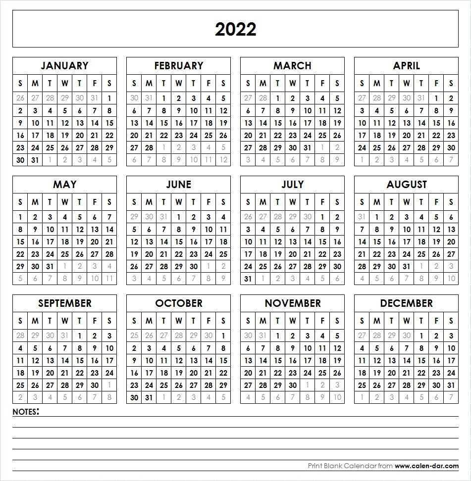 2022 Printable Calendar In 2020 Printable Yearly Calendar Yearly Calendar Template Calendar 2019 Printable