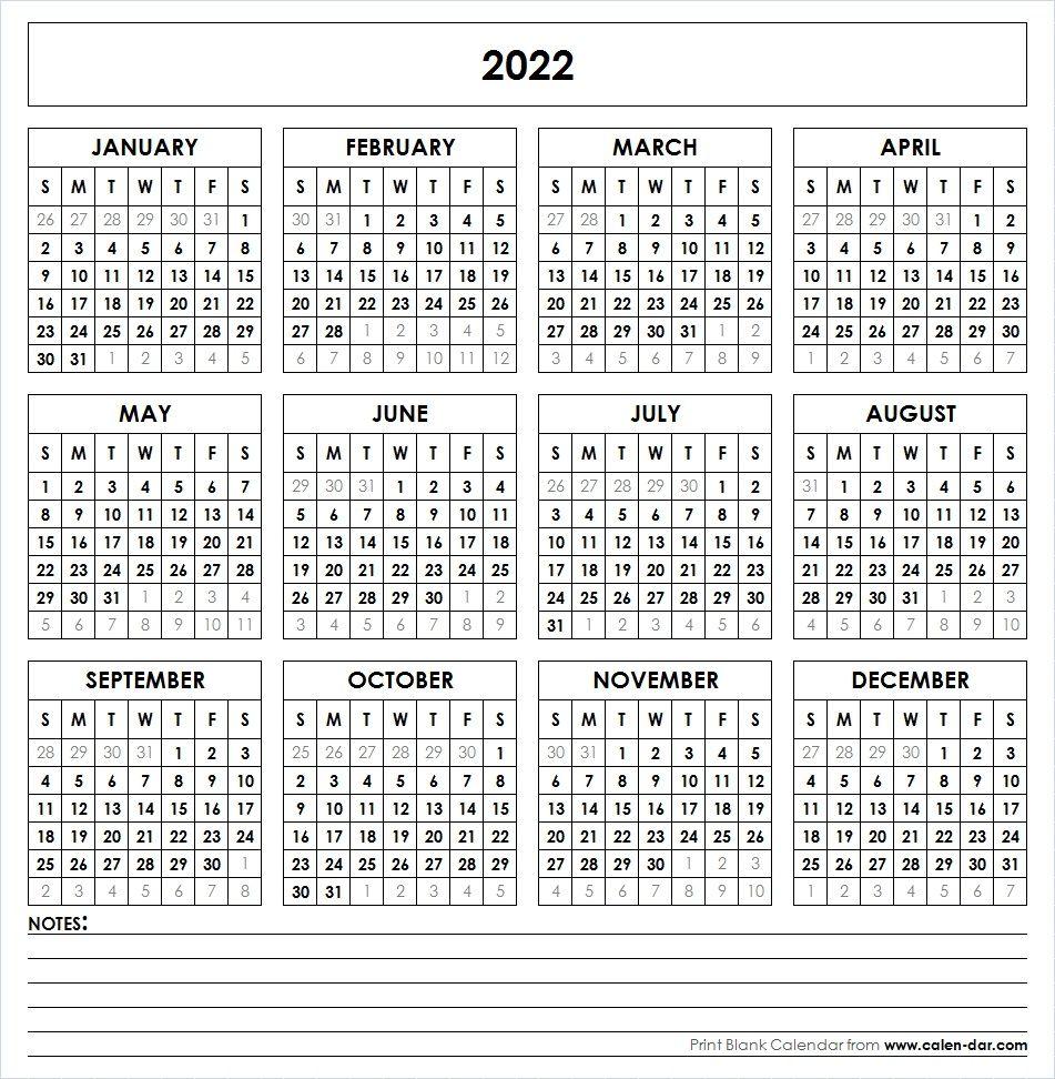 Blank 2022 Printable Calendar Template PDF | Yearly ...