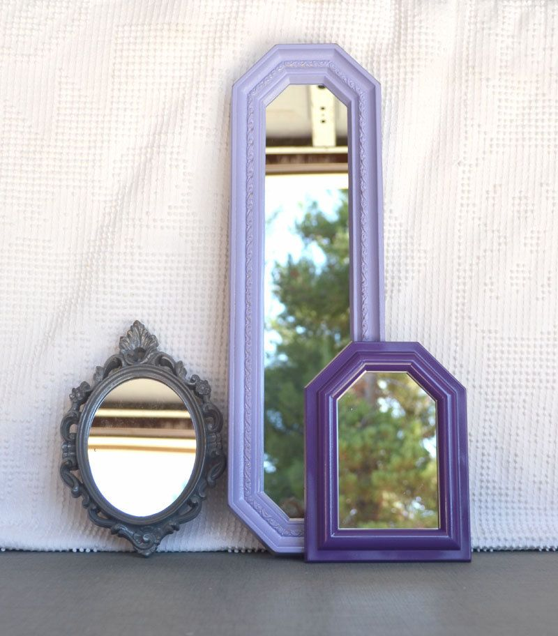 19 Collection Of Purple And Grey Wall Art: Lilac Purple Grey Upcycled Ornate Mirror Collection Modern