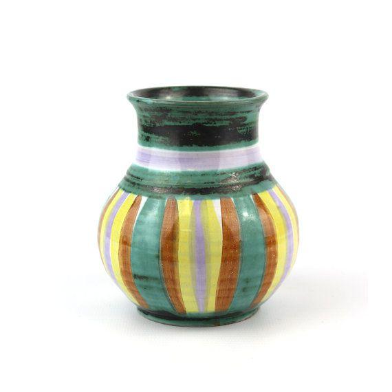 Vintage English Striped Tintagel Pottery Vase by Retromojo on Etsy