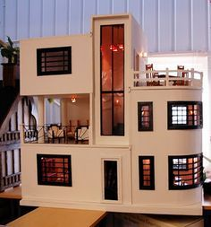 Dream Dollhouses: Art Deco Dream House - the black and cream colour scheme  works well from both contemporary and Deco styles