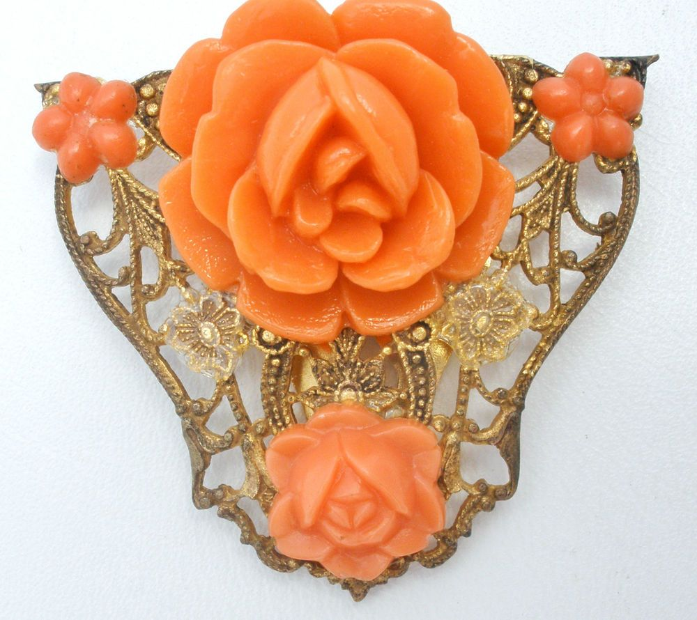 Celluloid Rose Dress Clip Brass Filigree Wedding Vintage Sash Ornament Flowers