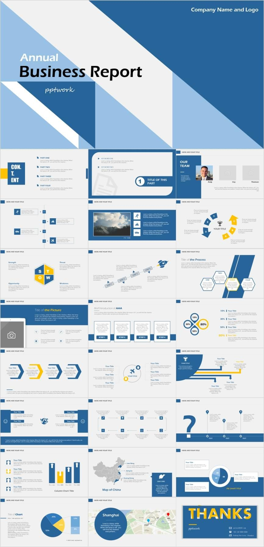 Blue annual business report PowerPoint template