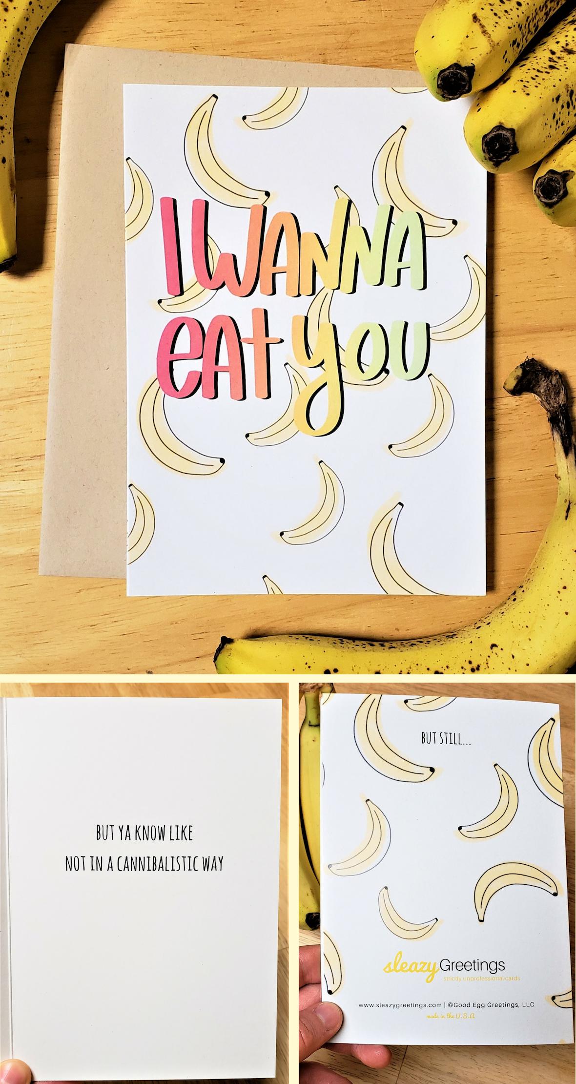 Funny Birthday Card For Him Banana Love Card Sleazy Greetings Birthday Cards For Boyfriend Funny Love Cards Funny Birthday Cards