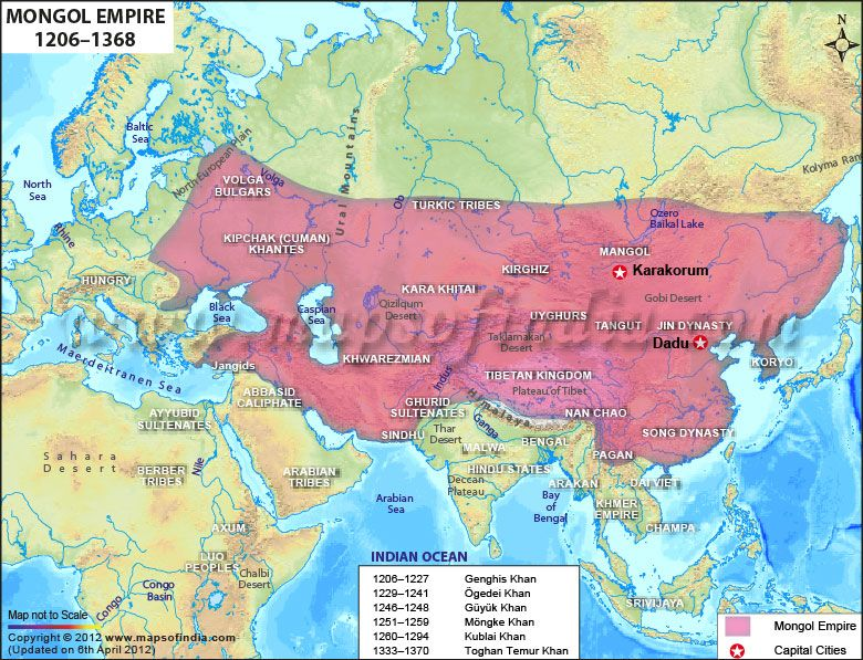 Map of Mongol Dynasty. There were several times when even ...