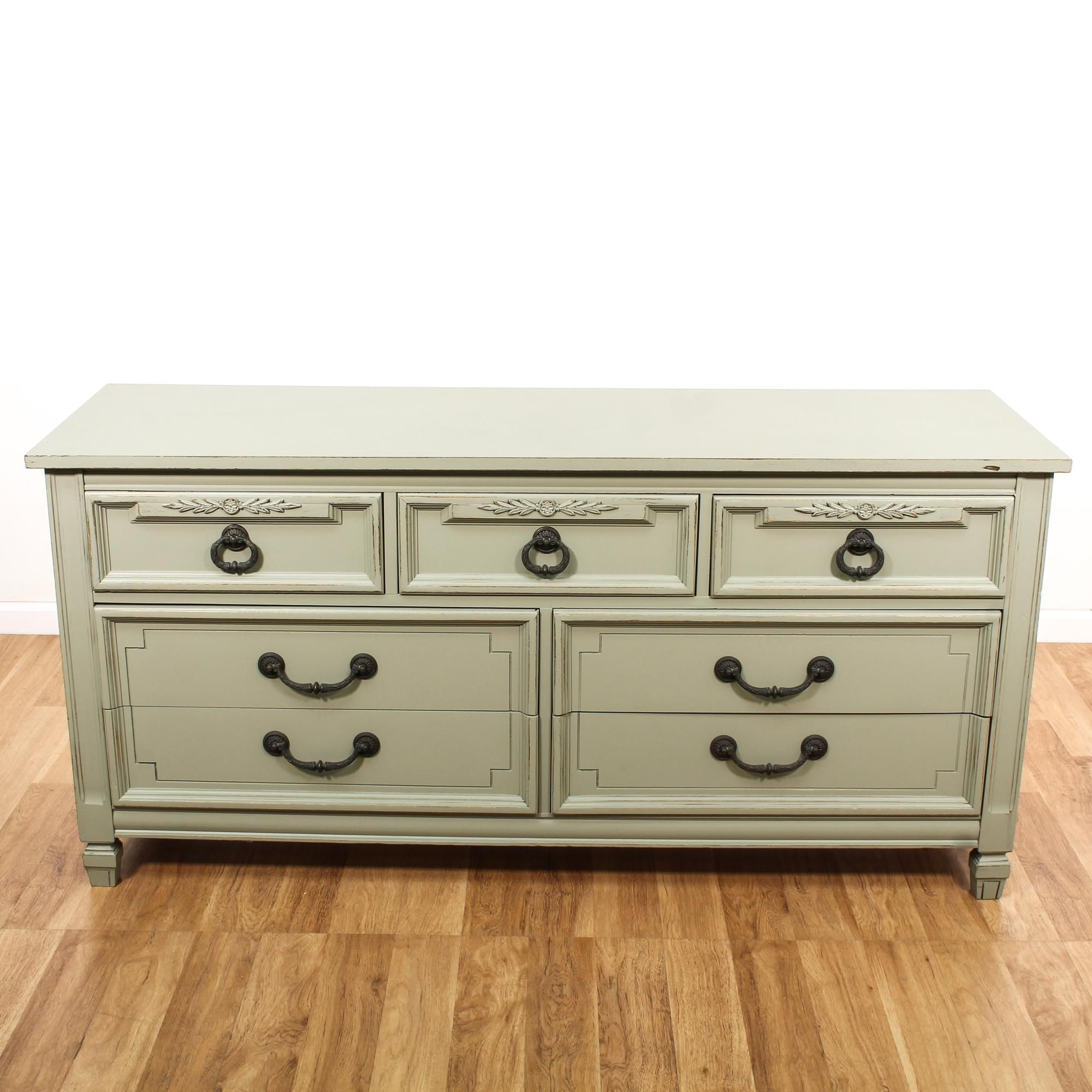 This Cottage Chic Dresser Is Featured In A Solid Wood With A Light Sage Green Paint Finish This Long Dresser Has 7 Green Dresser Cottage Chic Sage Green Paint [ 2000 x 2000 Pixel ]