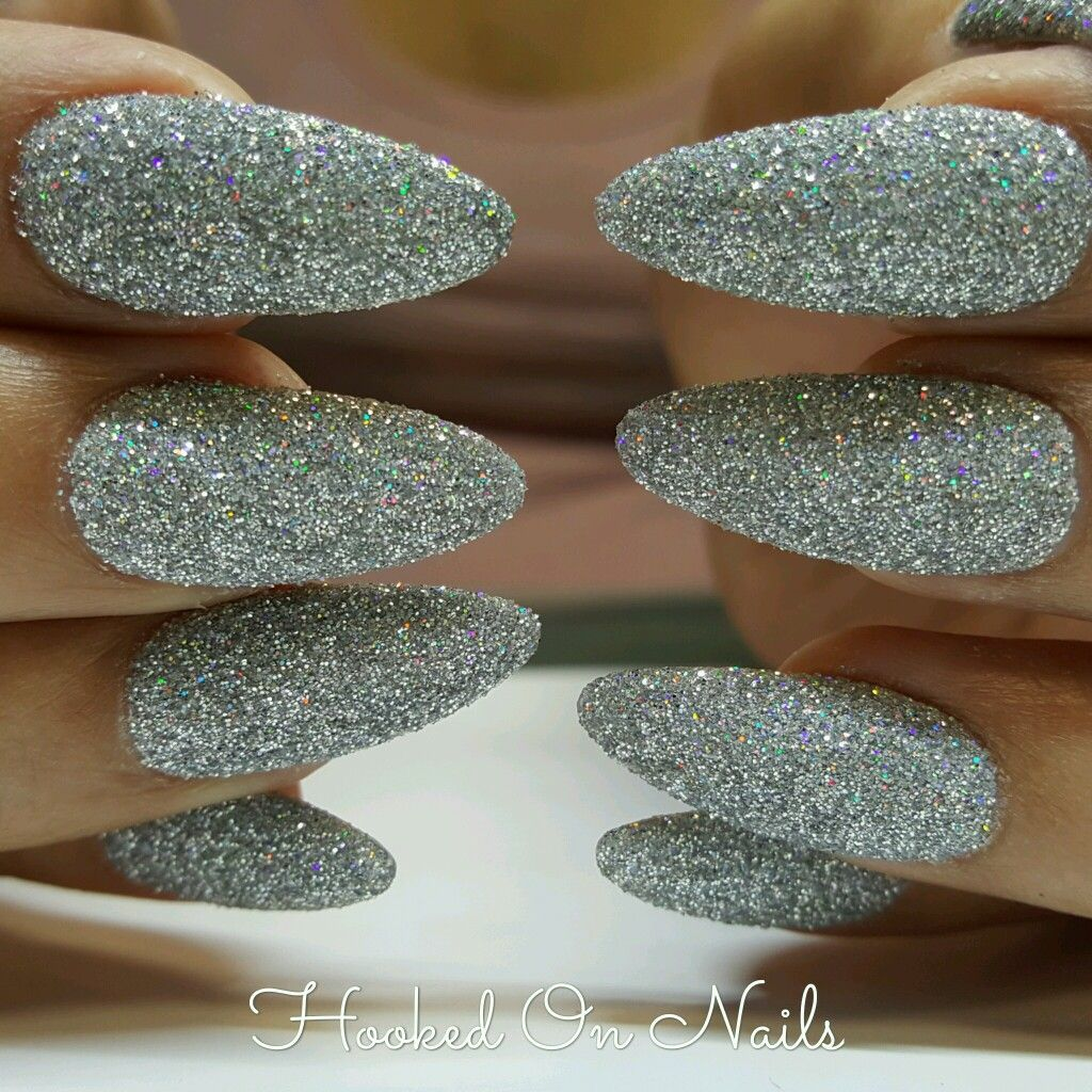 Almond shape nails, sugar effect nails, holographic glitter ...