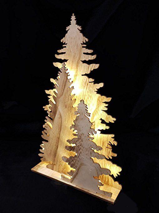 holz fensterdeko tannenbaum deko leuchte mit 15 led. Black Bedroom Furniture Sets. Home Design Ideas