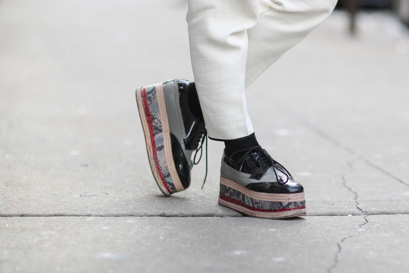 30+ Drop-Dead-Gorgeous Shoes Spotted In New York City #refinery29  http://www.refinery29.com/2015/02/82248/best-fashion-week-2015-shoes#slide-24  Stack 'em up!