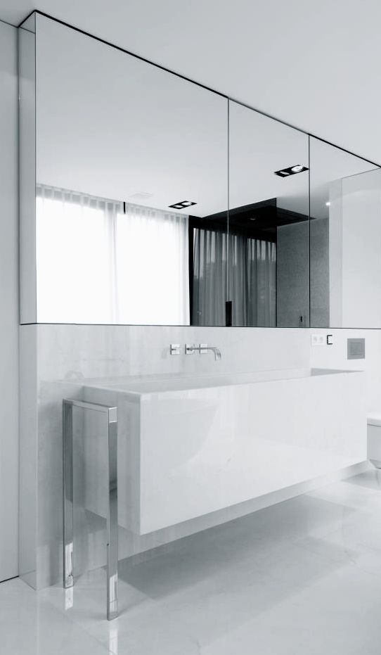 Bathroom Lovely Detail Of Mirror With Integrated Storage Cabinetry Flush With Backsplash And C Contemporary Bathroom Designs Modern Bathroom Baths Interior