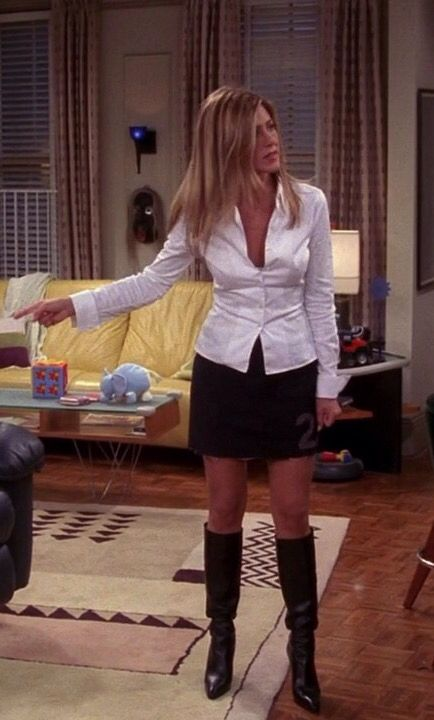 Jennifer Aniston As Rachel Green On Friends Sexy Outfit And Boots