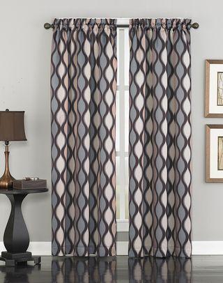 Wave Ogee Print Room Darkening Curtain Panel Room Darkening