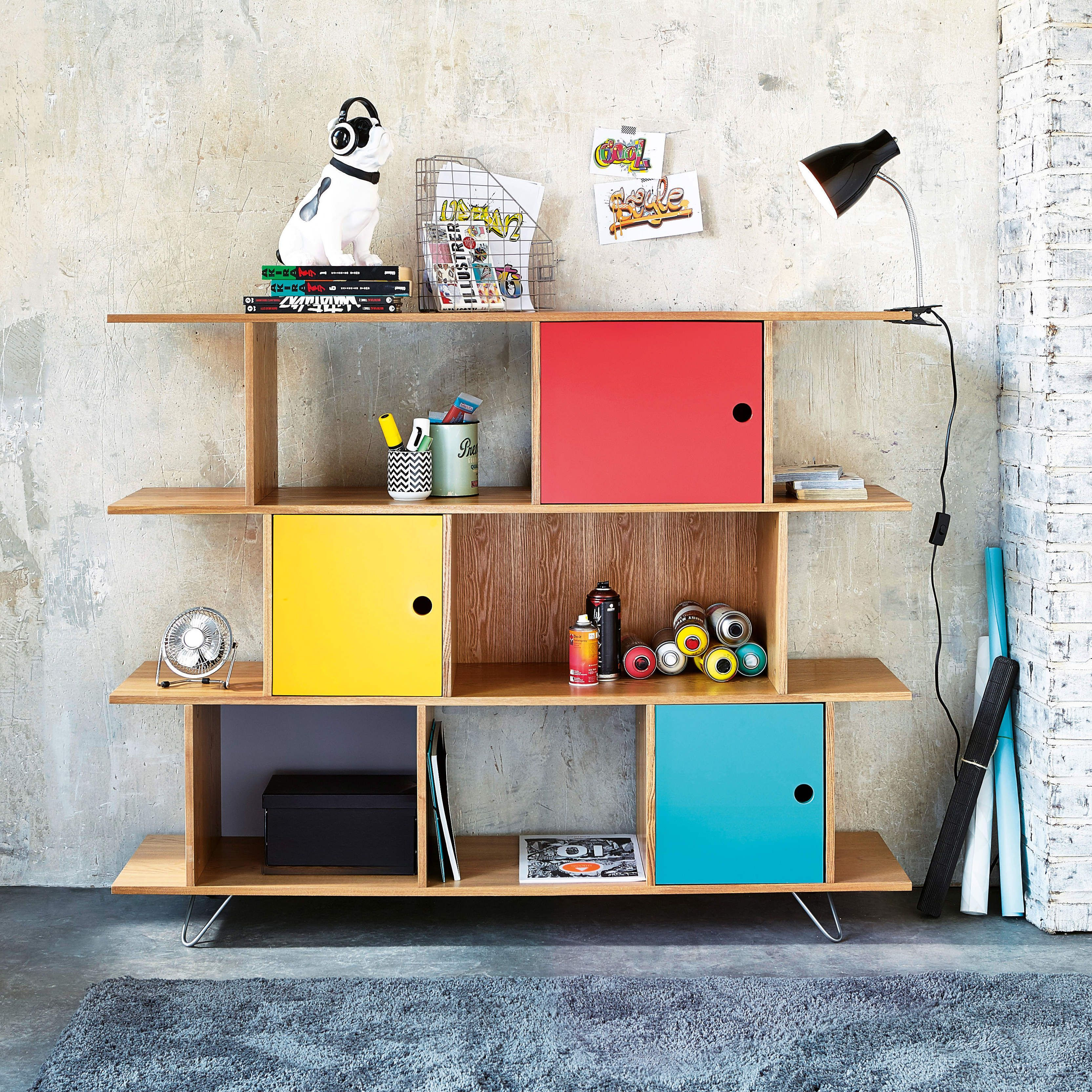 Biblioth¨que en bois multicolore L 145 cm Happy