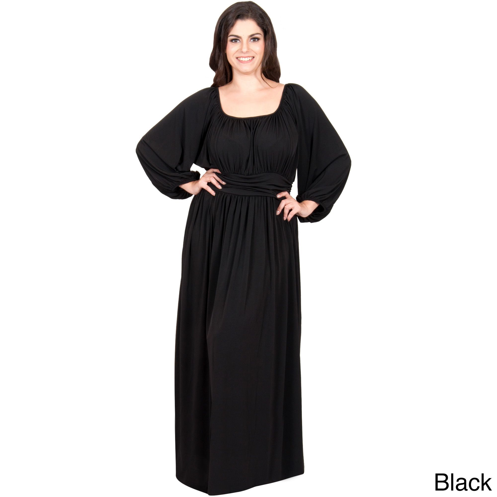 Global koh koh womenus plus size long sleeve round neckline ruched