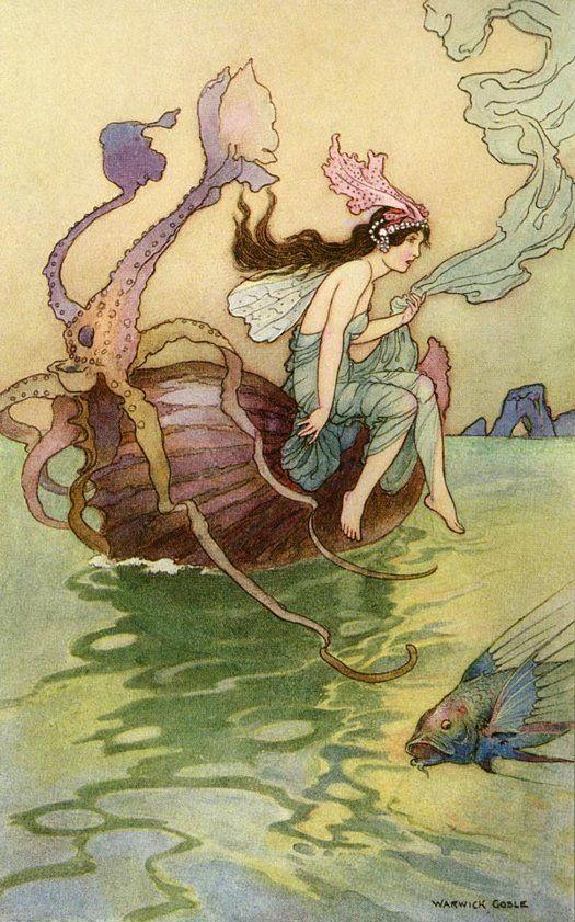 Art Poster Warwick Goble Fairy Riding Nautilus