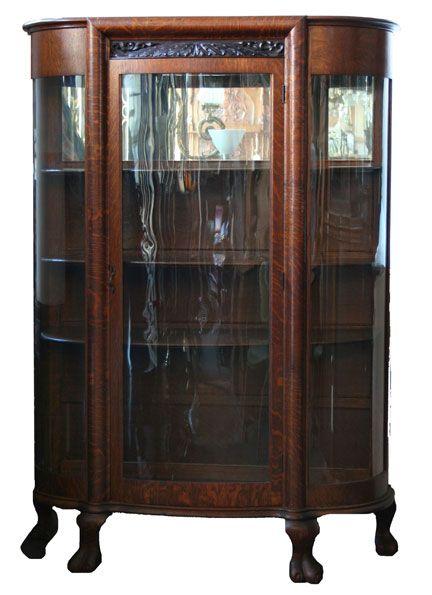 Oak Curved Glass China Cabinet - Circa 1900 - Mirrored Top Shelf - 65