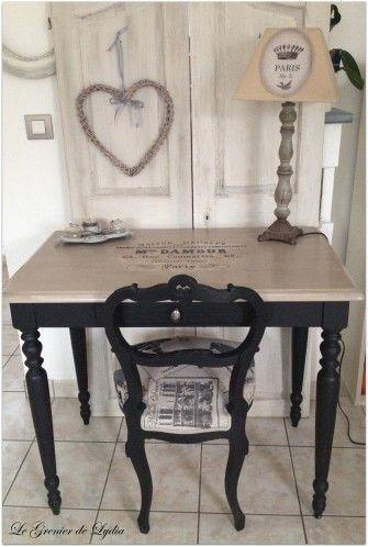 Chaises Romantiques Patinees Table Bureau Vintage Et Table Basse Relooking De Meubles Meubles Pa Furniture Makeover Shabby Chic Furniture Table Makeover