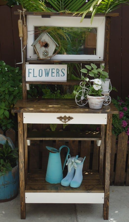 Vintage Window Potting Table - Available $225