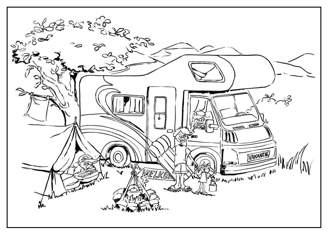 Kleurplaat Vakantie Met Camper Kleurplaten Camper Thema