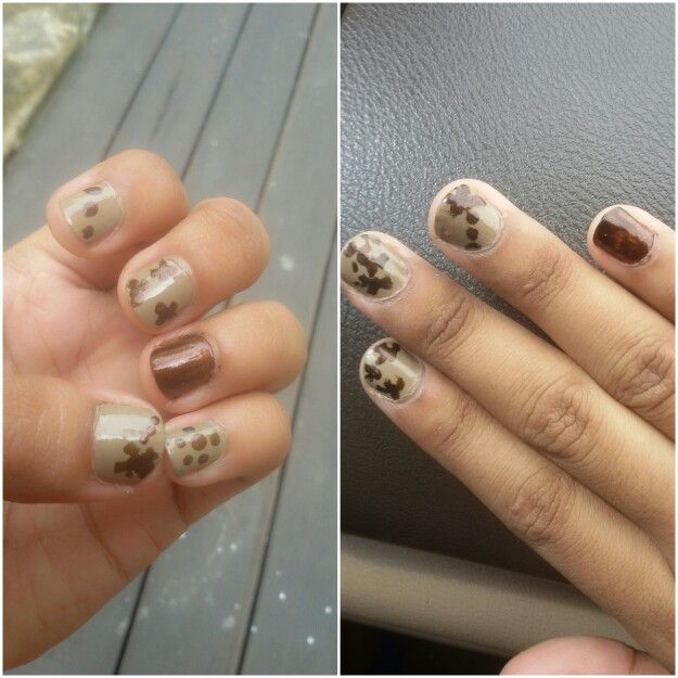 Nail Art - theme *brown dried leaves*