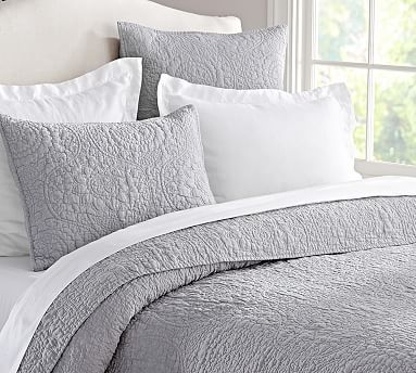Belgian Flax Linen Floral Stitch Sham, Euro, French Blue   Linens ... : quilts for master bedroom - Adamdwight.com