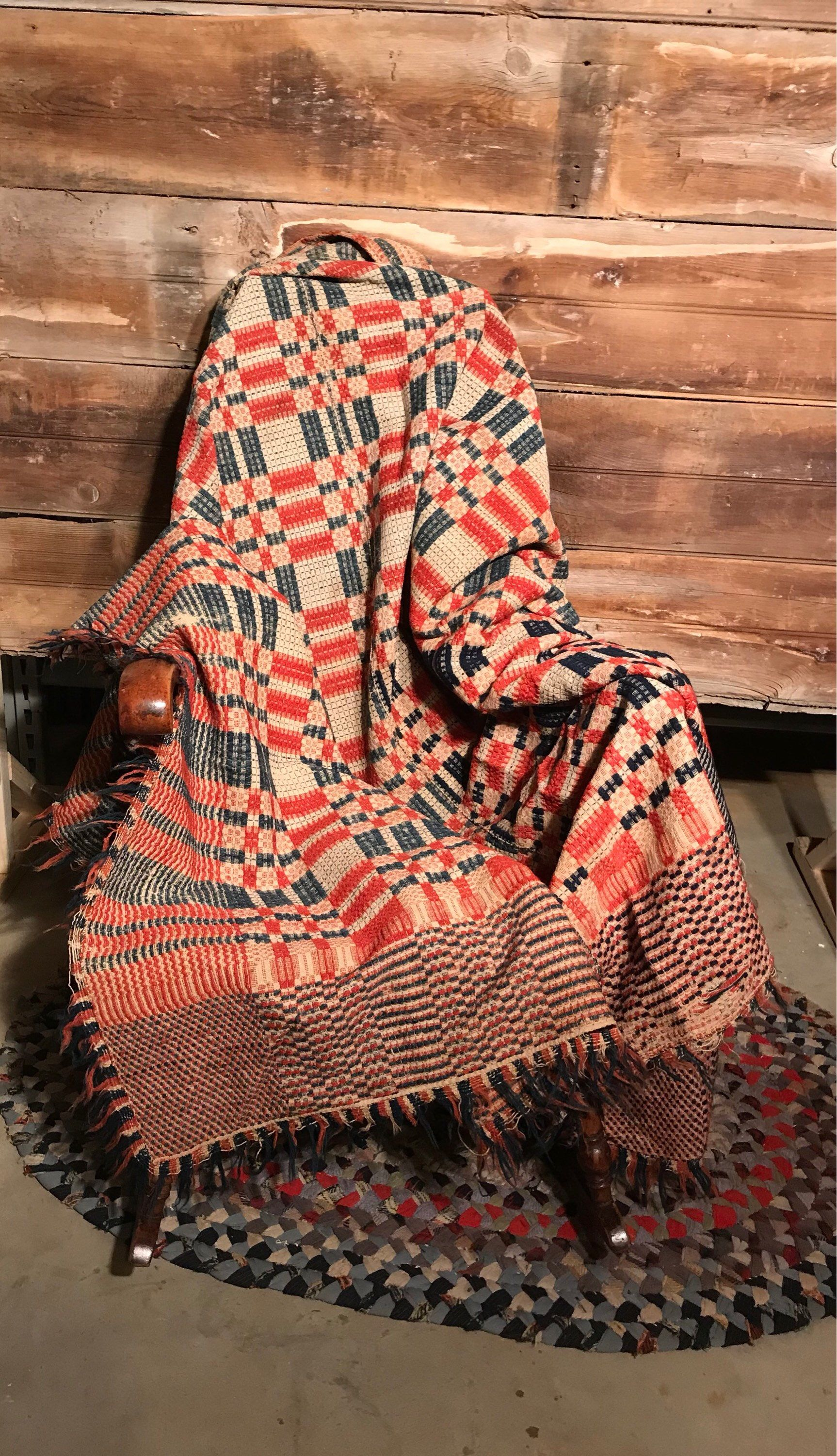 Antique Coverlet * Overshot Coverlet * 1800u0027s * Early American * Americana  * Woven Coverlet * Wool Coverlet * Red White And Blue Coverlet