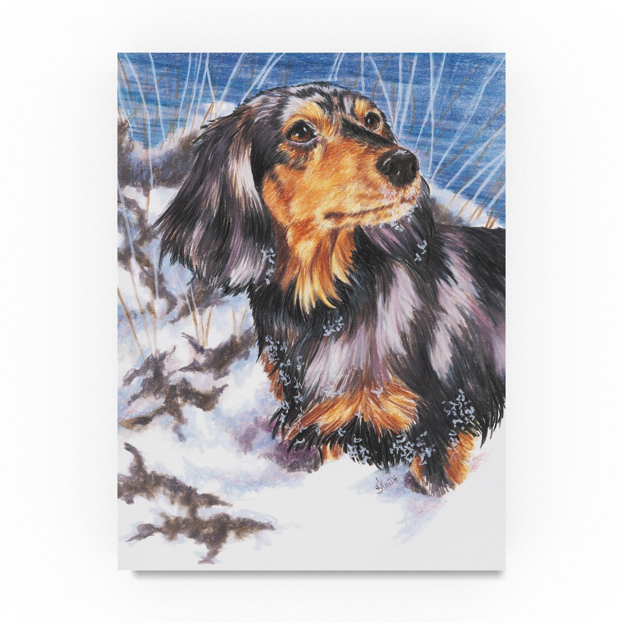 Barbara Keith Dachshund In Snow Canvas Art 24x32 Trademark