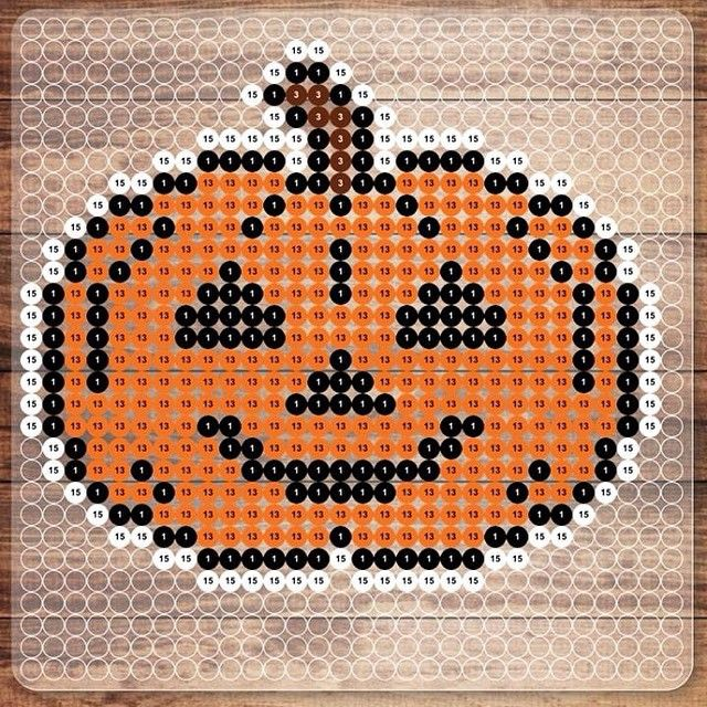 Pumpkin Halloween NABBI perler bead pattern by photopearls (Nabbi Beads)