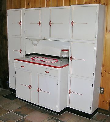 1930s Sellers Cabinet Original Art Deco Stripe Finish Bakelite Handles Hoosier The Originals Vintage Kitchen Art Deco