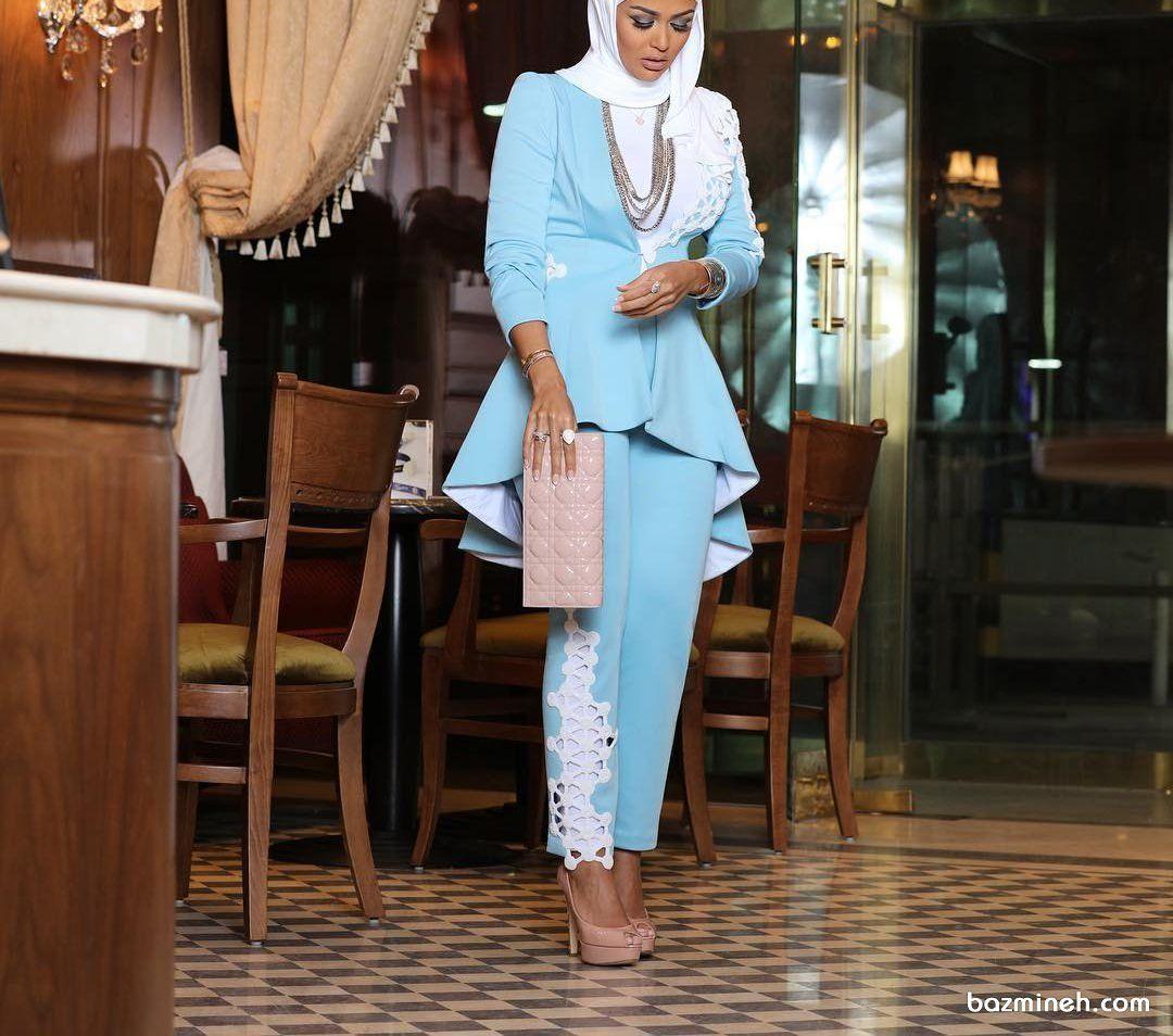 کت جلو کوتاه پشت بلند و شلوار کرپ آبی رنگ ستی زیبا برای مانتو عقد Hijab Style Casual Hijab Fashion Muslim Fashion