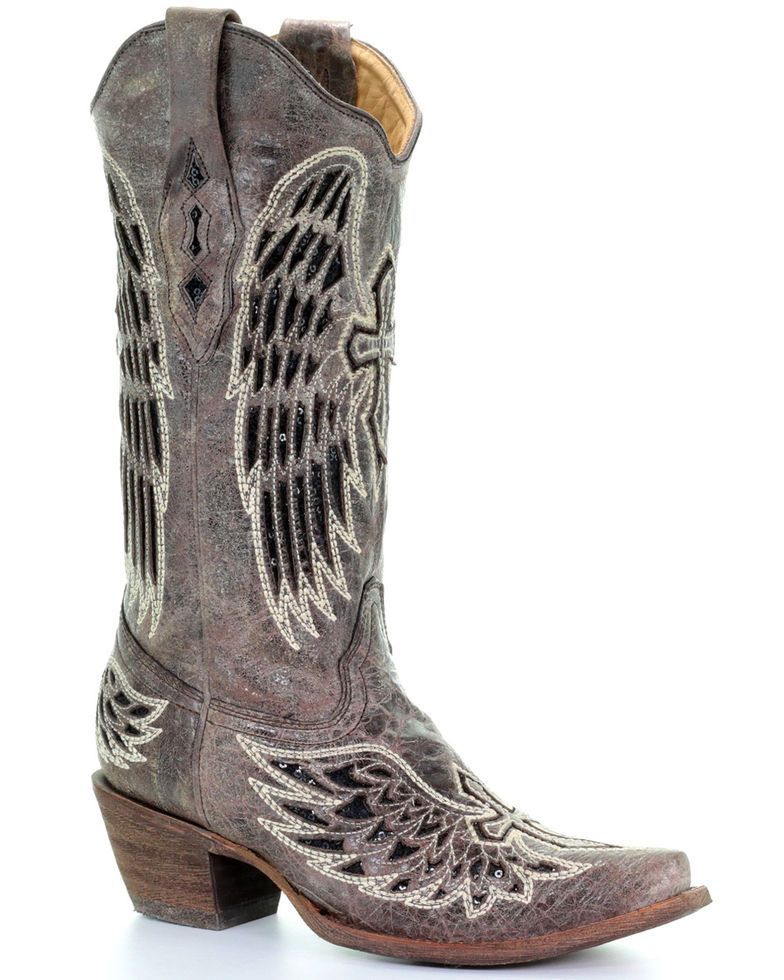 1900cdc2828b9 Corral Distressed Black Sequin Cross & Wing Inlay Cowgirl Boots - Snip Toe,  Brown