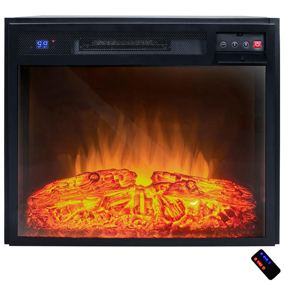 23 In Freestanding Electric Fireplace Insert Heater In Black With