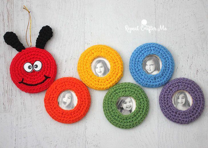 Crochet Caterpillar Picture Frame Wall Hanging | crafts | Pinterest