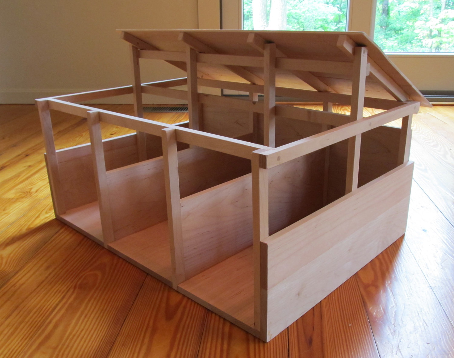 model post and beam solid wood horse barn in maple, breyer