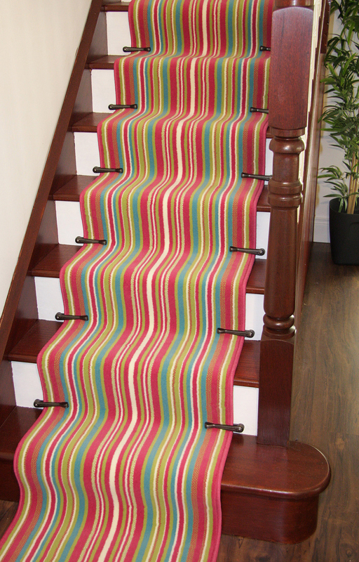 Colourful Pink Striped Any Length Long Stair Carpet Runner