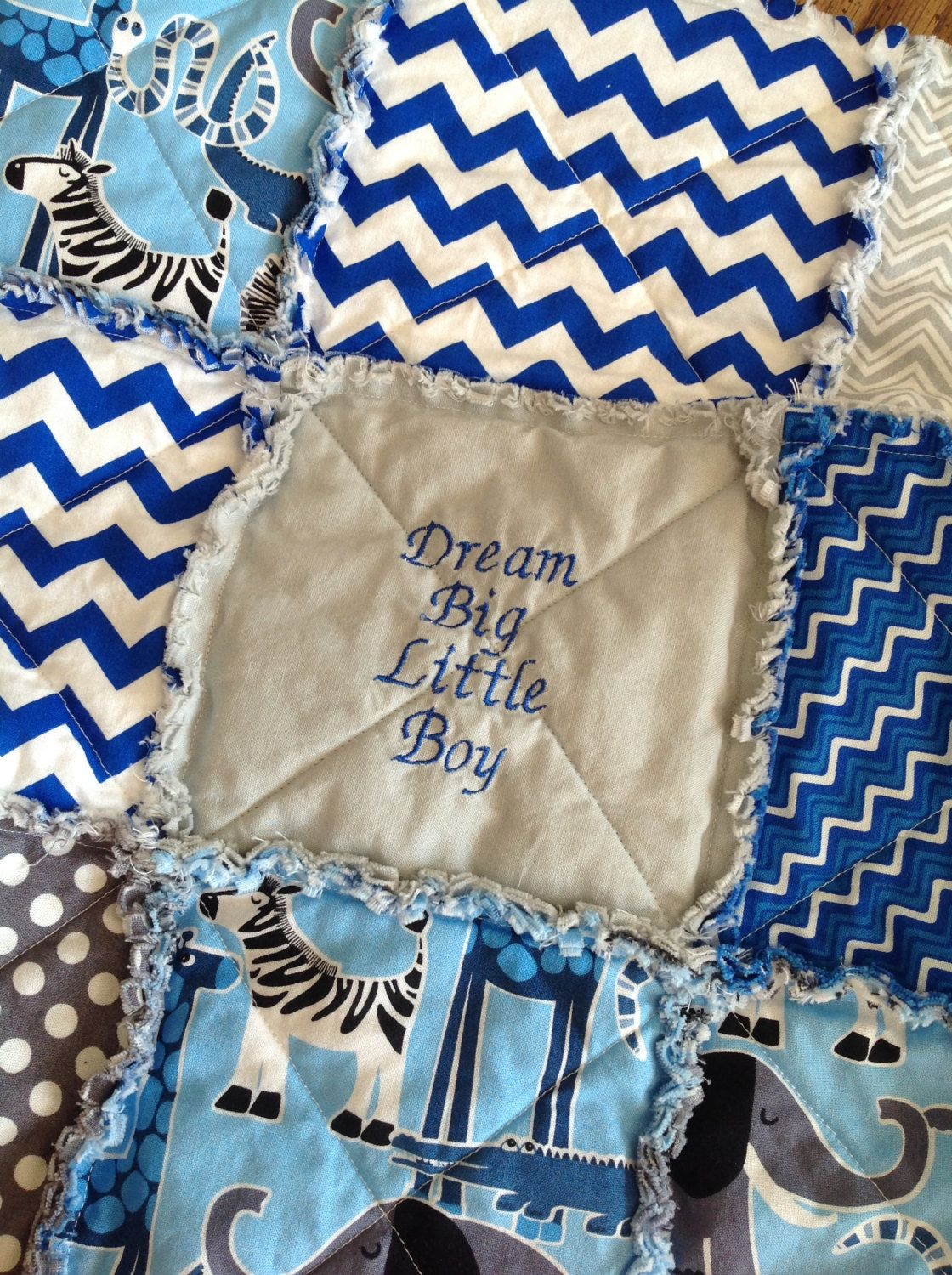 Dream Big Little Boy Embroidered Baby Rag Quilt Homemade Baby Boy ... : handmade baby boy quilts - Adamdwight.com