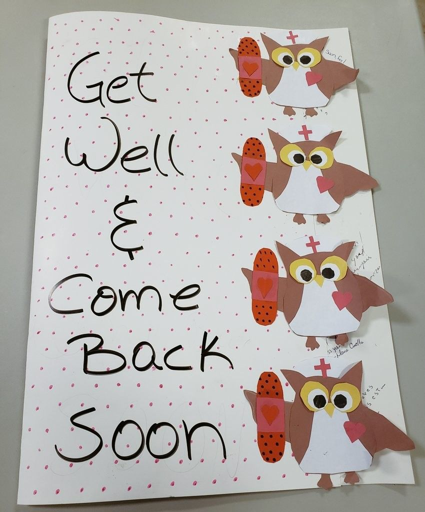 A get well soon card made out of a poster board card